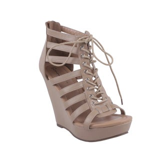Bonnibel by Beston Women's 'REACHEL-2' Lace-up Wedge Sandals in Tan