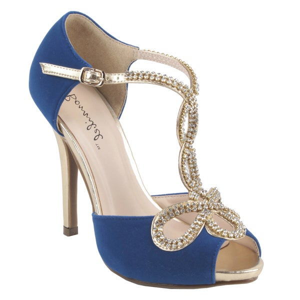Bonnibel by Beston Women's 'TIARA-1' T-strap Stiletto Sandals