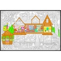 Line Art Wall Poster 22X32.5in-Victorian House