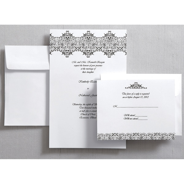 Invitation Kit Makes 50-Black & White/Brocade