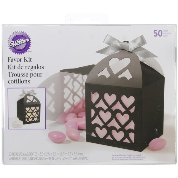 Favor Box Kit Makes 50-Black Lace Paper Lantern