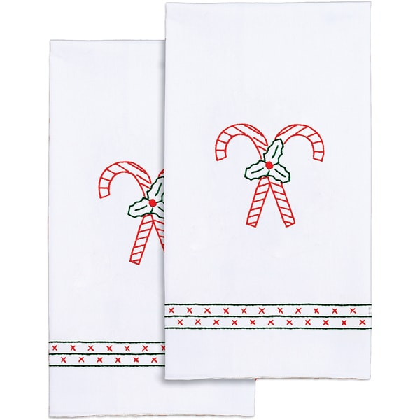 "Stamped White Decorative Hand Towel Craft Kit 17"" X 28"" One Pair"