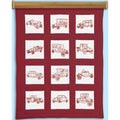 Themed Stamped White Cotton Quilt Blocks 9