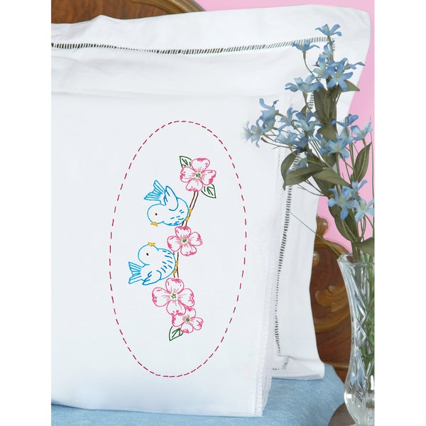 Stamped Pillowcases with White Lace Edge (Pack of 2)