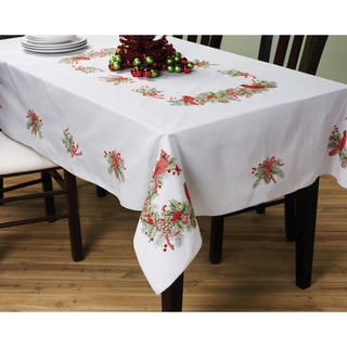 Cardinals Stamped Cross Stitch Holiday Tablecloth
