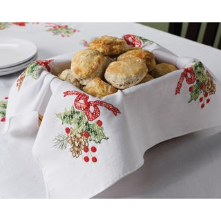 Cardinals Stamped Cross Stitch Bread Cover