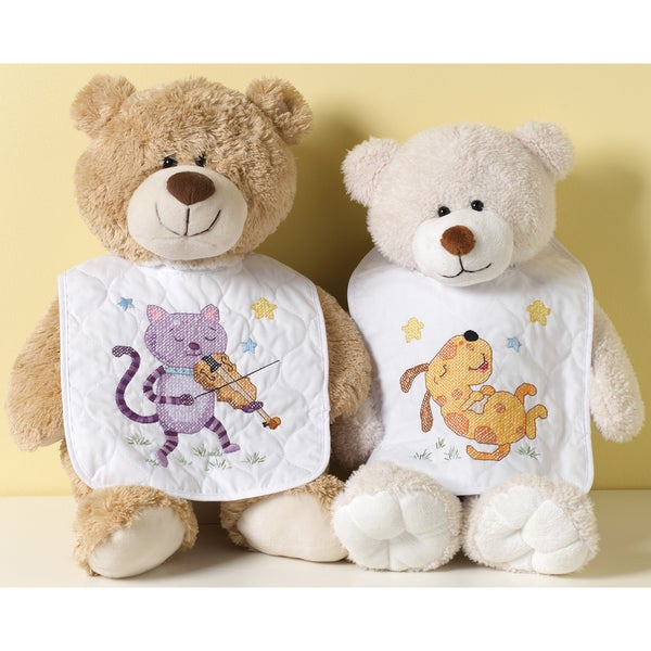 Hey Diddle Diddle Bib Pair Stamped Cross Stitch Kit