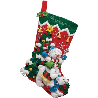 Snowman & Polar Bear Stocking Felt Applique Kit