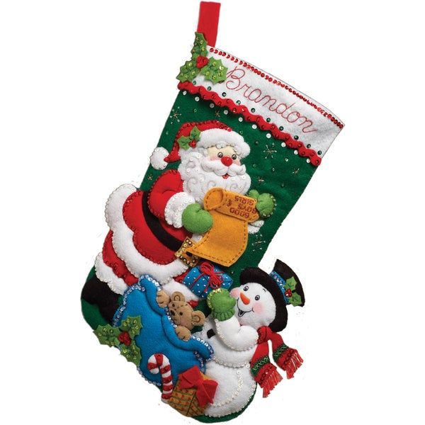 Santa's List Stocking Felt Applique Kit