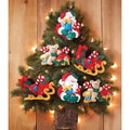 Santa & His Sleigh Ornaments Felt Applique Kit