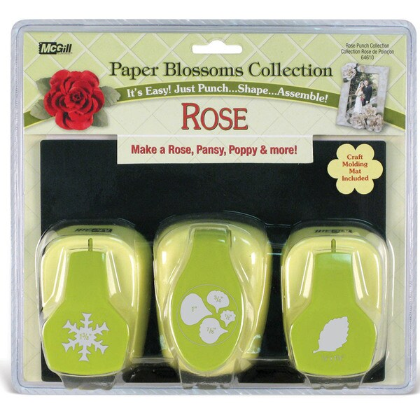 Paper Blossoms Punch Set/3 With Molding Mat-Rose