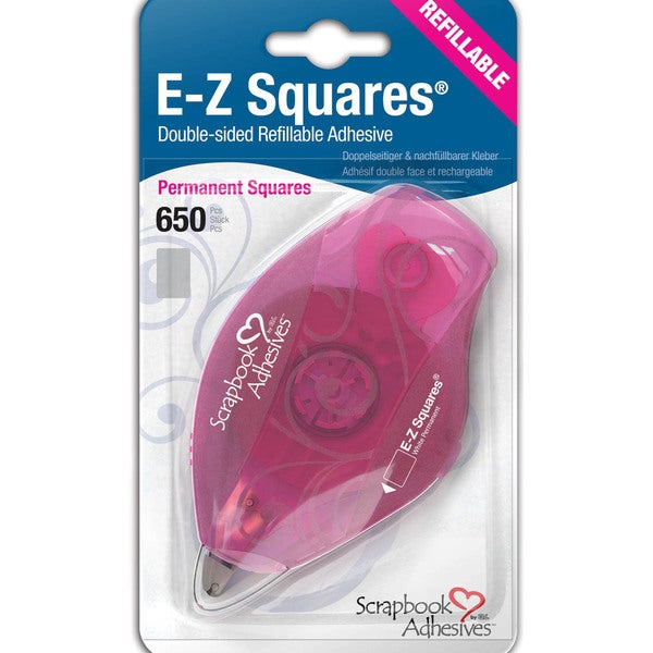 EZ Squares Refillable Dispenser W/Permanent Adhesive 650/Pkg-Permanent
