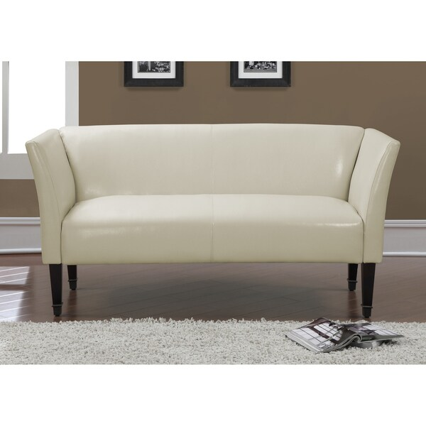 Marcella Creme Bonded Leather Bronze Capped Legs Loveseat