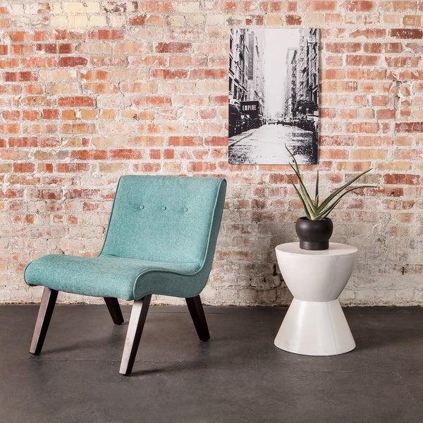 Aqua Armless Tufted Back Chair