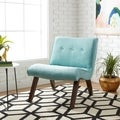 Aqua Armless Tufted Back Chair