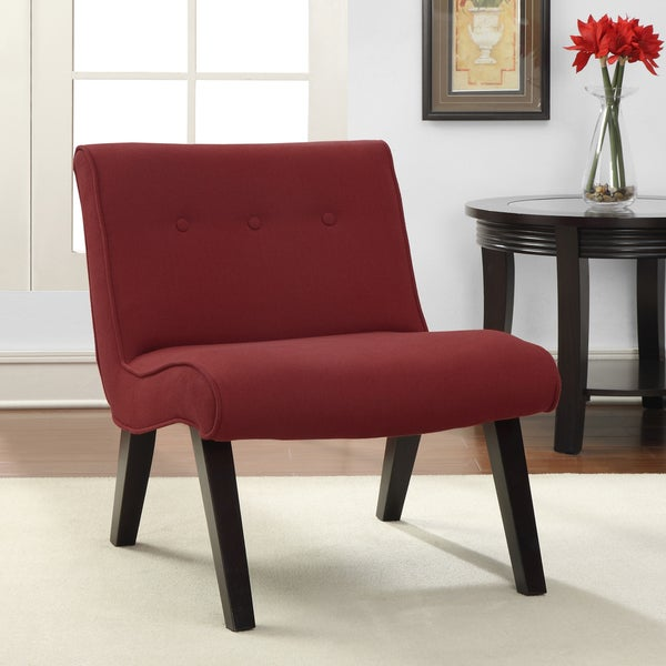 Red Armless Tufted Chair