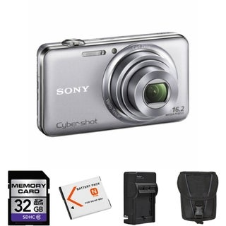 Sony Cyber-Shot DSC-WX70 16.2 MP Silver Digital Camera 32GB Bundle