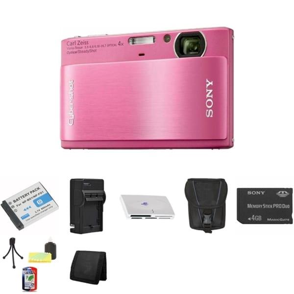 Sony DSC-TX1 Cybershot 10.2MP Pink Digital Camera 4GB Bundle