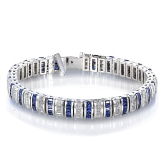 Annello 14k Gold Blue Sapphire and 4 7/8ct TDW Diamond Bracelet (H-I, SI1-SI2)