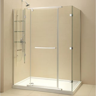 DreamLine Quatra-X 34-5/16 x 58-5/16 Frameless Pivot Shower Enclosure