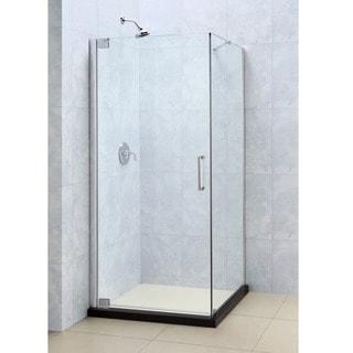 Elegance 34 x 32 frameless tempered glass pivot shower enclosure