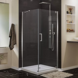 "DreamLine Elegance 34"" x 34"" Frameless Tempered-Glass Pivot Shower Enclosure"