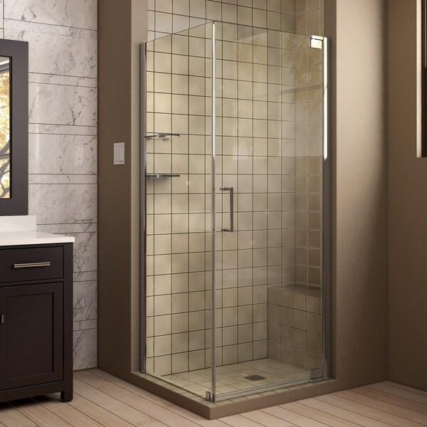 DreamLine Elegance 30 in. by 34 in. Frameless Pivot Shower Enclosure 11107186