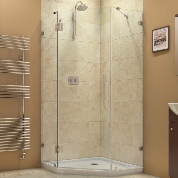 DreamLine Prism Lux 36 5/16 in. by 36 5/16 in. Frameless Hinged Shower Enclosure 11107206