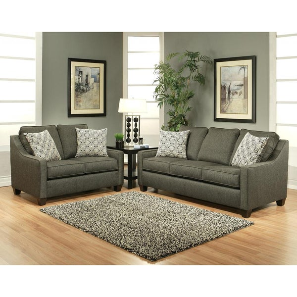 Stoke Grey Polyester 2 Piece Sofa And Loveseat Set
