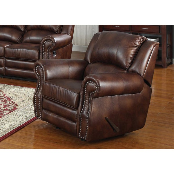 Fulton bonded leather reclining chair overstock shopping for Addin chaise recliner