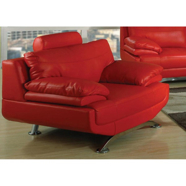 Jessica Red Bonded Leather Modern Chair