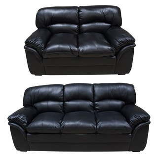 Joyce Black Sofa and Loveseat Set