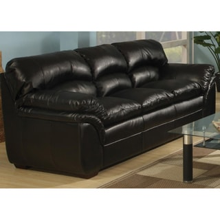 Joyce Black Bonded Leather Sofa