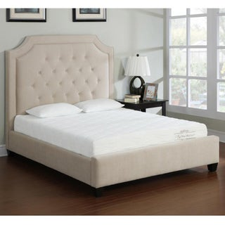 Camel Button Tufted Queen Bed Frame