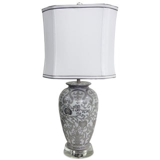White and Silver Scroll Lamp with Crystal Stand