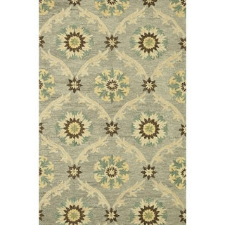 Hand-hooked Tessa Light Grey Wool Rug (3'6 x 5'6)