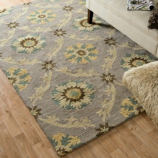 Hand-hooked Tessa Light Grey Wool Rug (7'10 x 11')