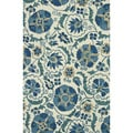 Hand-Tufted Tessa Ivory/ Blue Wool Rug (3'6 x 5'6)