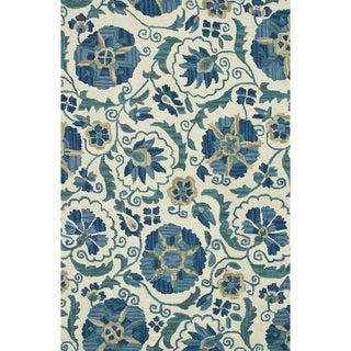 Hand-hooked Tessa Ivory/ Blue Wool Rug (7'10 x 11')