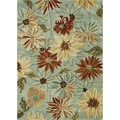 Hand-Tufted Leighton Green Floral Wool Rug (7'6 x 9'6)