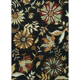 Hand Tufted Leighton Black Wool Rug (5'0 x 7'6)