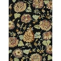 Hand-Tufted Leighton Black/Brown/Green Floral Wool Rug (7'6 x 9'6)