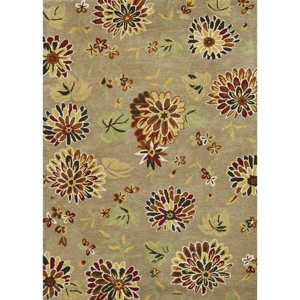 Hand Tufted Leighton Light Brown Wool Rug (5'0 x 7'6)