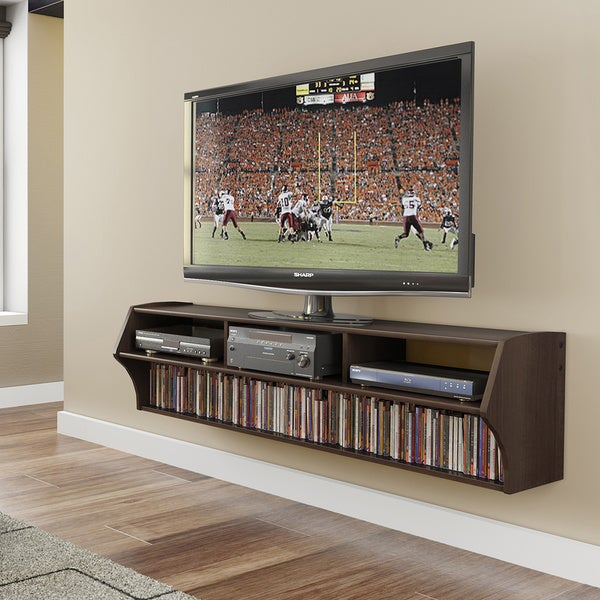 Everett altus plus espresso 58 inch floating tv stand for Furniture of america danbury modern