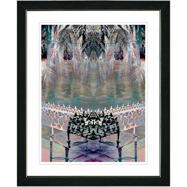 Studio Works Modern 'Palm Leaves Bench - Black' Framed Print 11107645