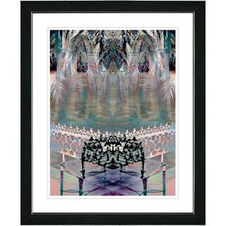 Studio Works Modern 'Palm Leaves Bench - Black' Framed Print