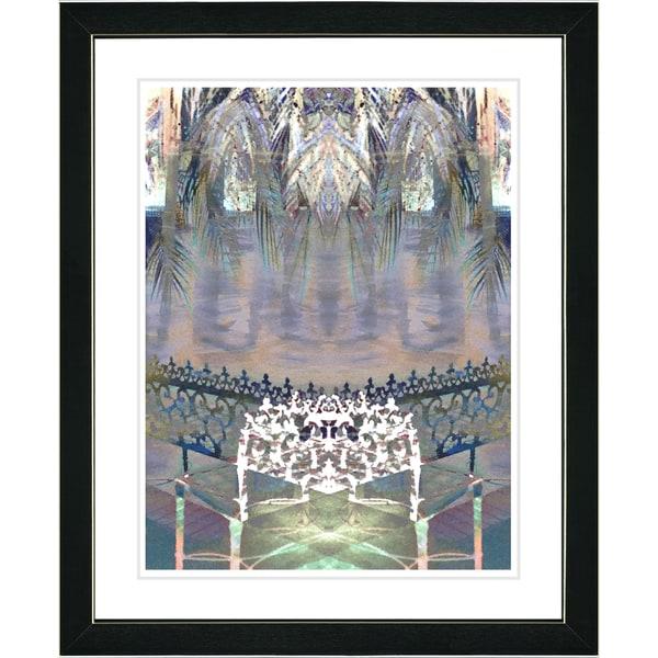 Studio Works Modern 'Palm Leaves Bench - White' Framed Print 11107648