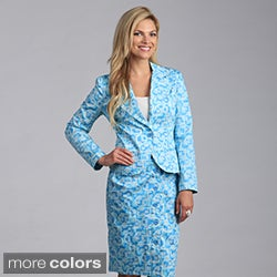 Amelia Women's Two-button Printed Satin Blazer