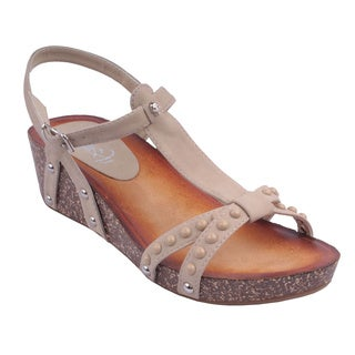 Refresh by Beston Women's 'DANICA-03' Beige T-Strap Wedge Sandals