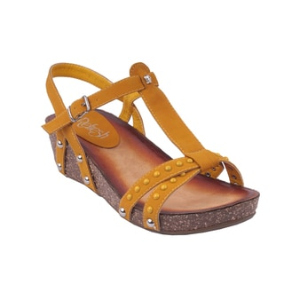 Refresh by Beston Women's Mustard 'DANICA-03' T-Strap Wedge Sandals